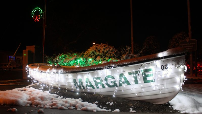 This Margate lifeboat is decorated for the holidays. (Bill Barlow/for WHYY)