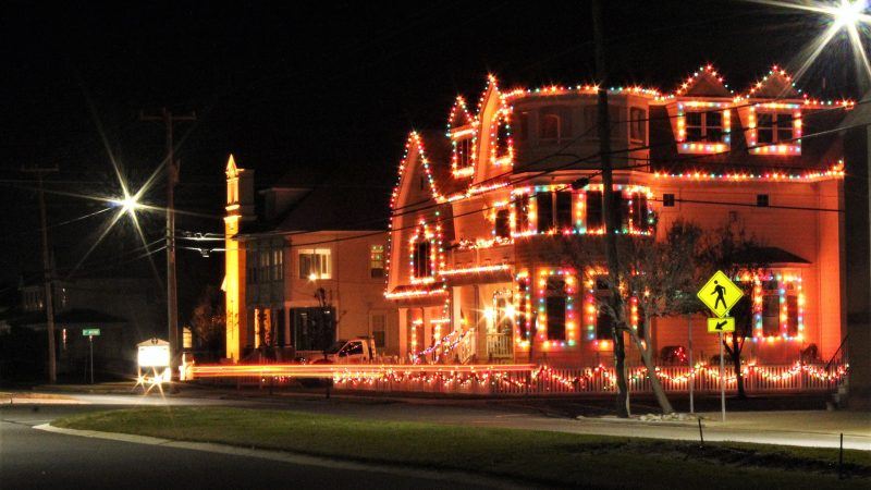 Brightly lit home in North Wildwood, N.J. (Bill Barlow/for WHYY)