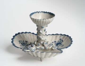 A 1770s pickle stand created by Philadelphia's Bonnin and Morris, the first American porcelain factory is currently on display at the Museum of the American Revolution through December 2018, on loan from the Philadelphia Museum of Art.