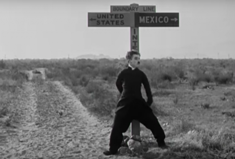 A still from the 1923 Charlie Chaplin movie 'The Pilgrim' (https://youtu.be/e3QFLaxOzmE)