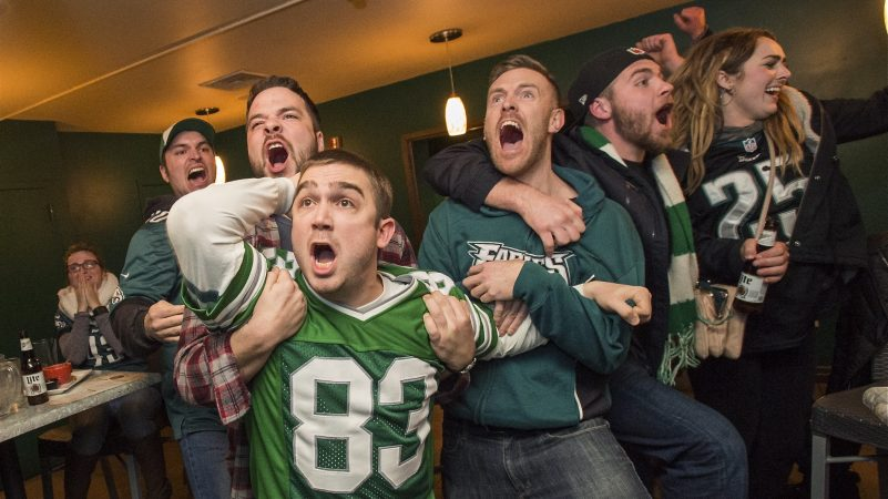 The mood grows tense during the final two and a half minutes of the Super Bowl on Feb. 4, 2018, in which the Philadelphia Eagles defeated the New England Patriots. (Jonathan Wilson for WHYY)