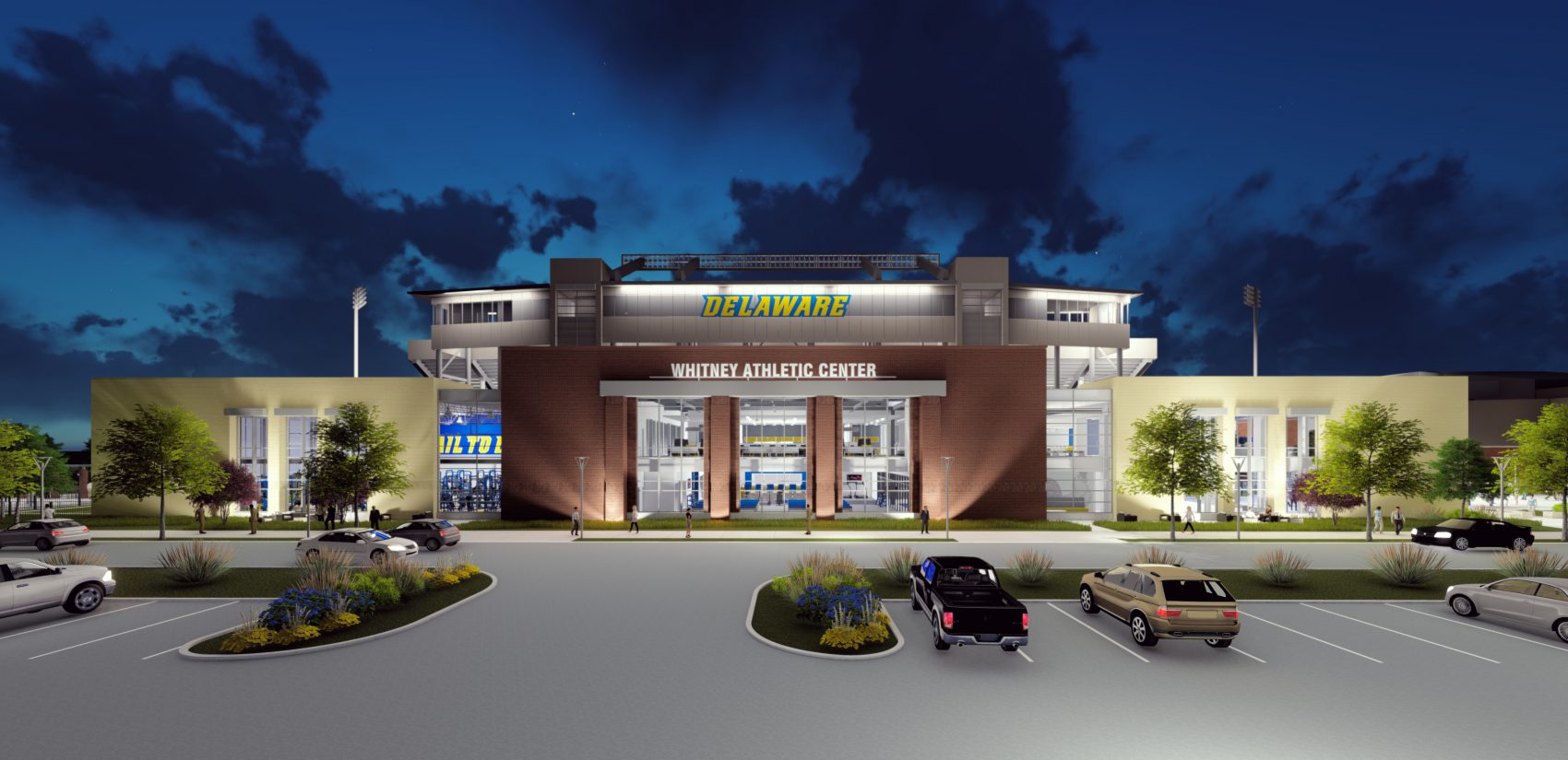 This drawing shows what the new Whitney Athletic center will look like in front of the Delaware Stadium stands. (UD photo)