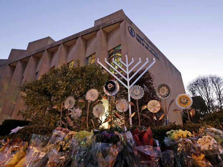 A menorah is installed outside the Tree of Life Synagogue in Pittsburgh on the first night of Hanukkah.The synagogue was the site of a mass shooting in October. It was one of a number of tragedies and revelations that made 2018 a difficult year for the city of Pittsburgh. (Gene J. Puskar/AP Photo)