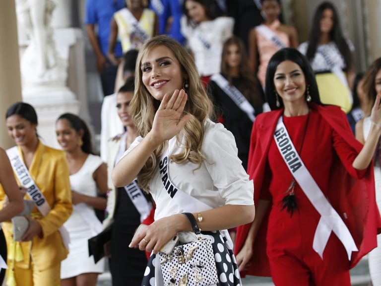 Angela Ponce, Miss Spain (center), is the first transgender contestant to compete for Miss Universe.