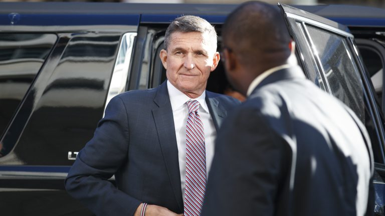 President Trump's former national security adviser Michael Flynn arrives at federal court in Washington. D.C., Tuesday. (Carolyn Kaster/AP Photo)