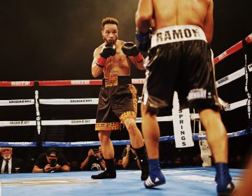 Patricio Manuel, the first openly transgender man to box professionally in the U.S., faced off against Hugo Aguilar on Saturday evening at a casino in Indio, Calif. The judges declared Manuel the winner. (Texas Isaiah)