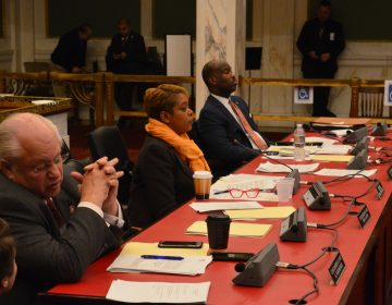Members of Philadelphia City Council listen to testimony at hearing of the Health and Human Services Committee. (Tom MacDonald/WHYY)