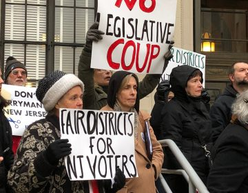 Protesters picket outside the N.J. State House in Trenton minutes before legislators hold public hearings on a controversial redistricting plan. (Joe Hernandez/WHYY)