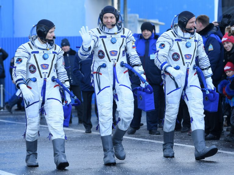 NASA astronaut Anne McClain (from left), Russian cosmonaut Oleg Kononenko and David Saint-Jacques of the Canadian Space Agency successfully blasted into space on Monday morning. It is the first mission since an aborted launch in October.