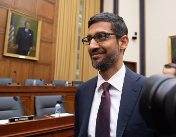 Google CEO Sundar Pichai arrives to testify during a House Judiciary Committee hearing on Capitol Hill on Tuesday. (Saul Loeb/AFP/Getty Images )
