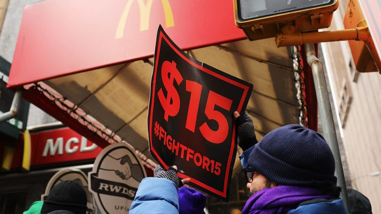 Protesters with NYC Fight for $15 gather in front of a McDonalds to rally against fast food executive Andrew Puzder, who was President Trump's nominee to lead the Labor Department on February 13, 2017 in New York City. (Spencer Platt/Getty Images)