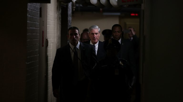 Robert Mueller leaves a closed meeting with members of the Senate Judiciary Committee on June 21, 2017. (Alex Wong/Getty Images)