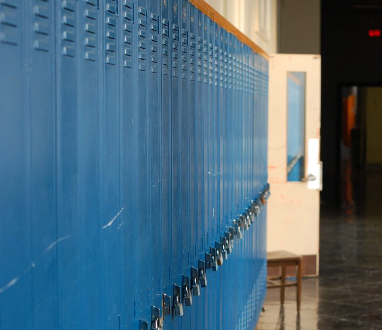 An empty hallway at the old West Philadelphia High School (Ashley Hahn/PlanPhilly)