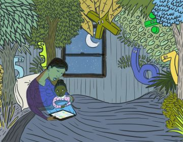A mother reads her daughter bedtime stories with numbers. (LA Johnson/NPR)