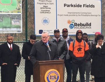 Mayor Jim Kenney at the first groundbreaking of his signature Rebuild initiative. (Malcolm Burnley/PlanPhilly)