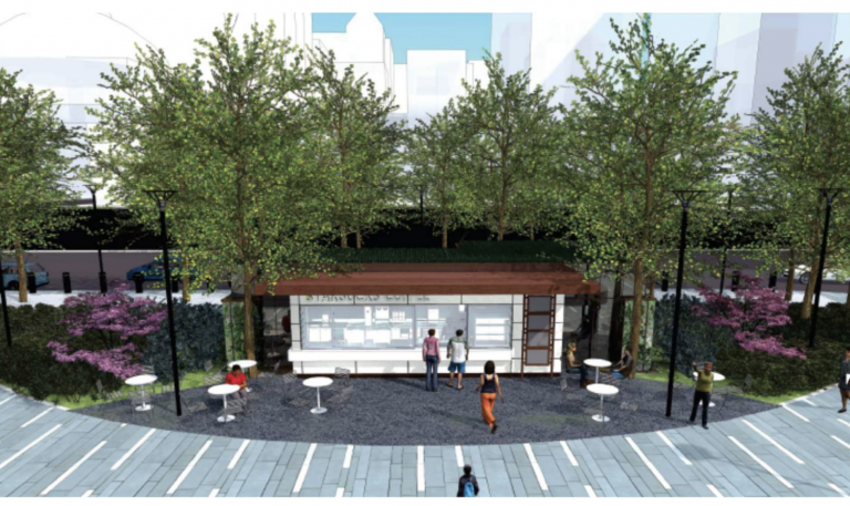 Rendering of new coffee shop for Dilworth Plaza (Center City District)