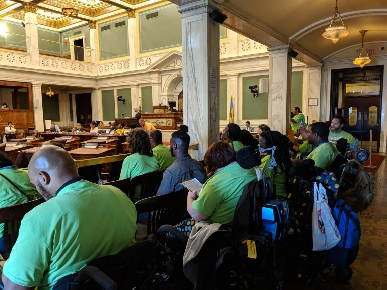 Representatives of the Philadelphia Coalition for Affordable Communities packed a Sept. 26 City Council hearing. (Shaylin Sluzalis via Twitter)