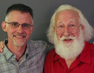 Adam Roseman, 52, and Rick Rosenthal, 66, pose after their StoryCorps interview in Atlanta. (Brenda Ford/StoryCorps)