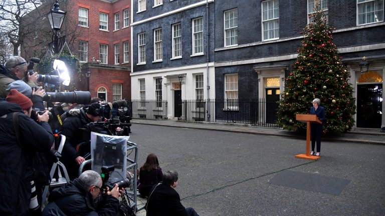 U.K. Prime Minister Theresa May won a vote on her leadership Wednesday, as debate rages over how the U.K. should exit the European Union. She spoke to the media before the vote outside No. 10 Downing St. in London. (Toby Melville/Reuters)