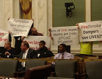 Sheet Metal Workers protest in Council (Jake Blumgart/WHYY)