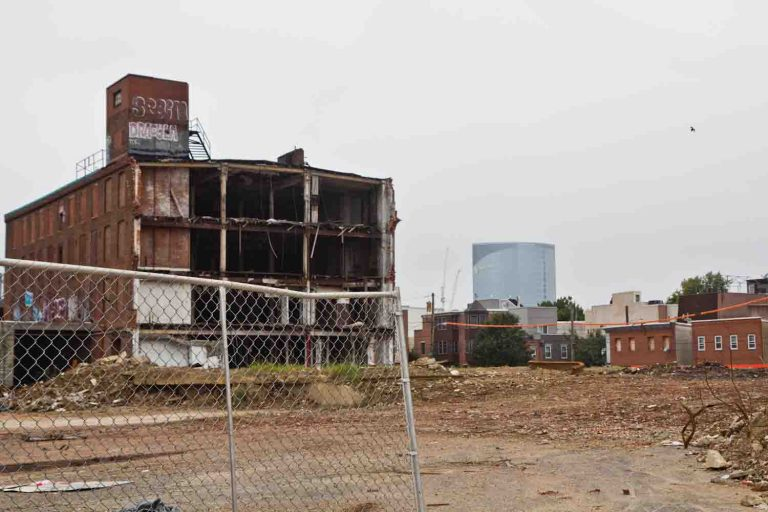 The Frankford Chocolate Factory at 21st and Washington Streets is in the process of demolition  . (Kimberly Paynter/WHYY)