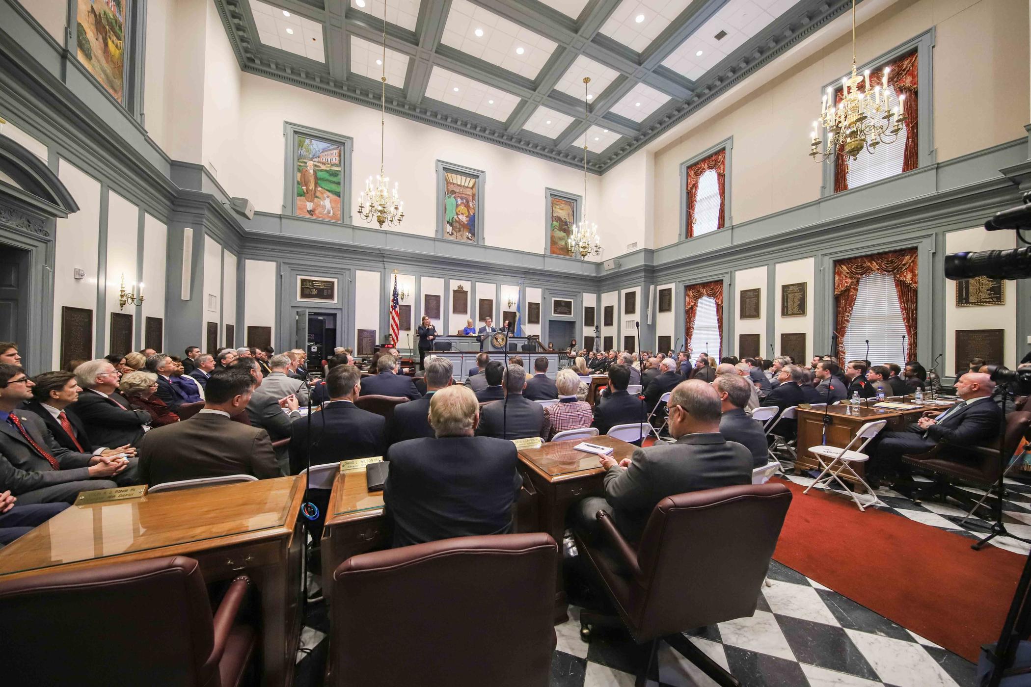 Delaware legislators gather at Legislative Hall in Dover for Gov. John Carney's third State of the State address.