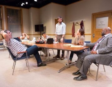 The ensemble in '74 Seconds ... to Judgment' at Arden Theatre Company. (Photo courtesy of Mark Garvin)