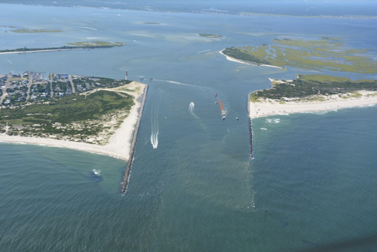 An aerial view of the Barnegat Inlet. (Photo: Civil Air Patrol courtesy of the U.S. Army Corps of Engineers)