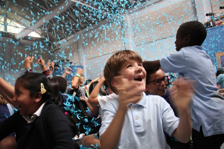 Penn Alexander students celebrate after learning their school was named a National Blue Ribbon School of Excellence.