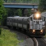 An Atlantic City Rail Line train to 30th Street Station in Philadelphia arrives in Lindenwold, N.J. last August. (Bastiaan Slabbers for WHYY)