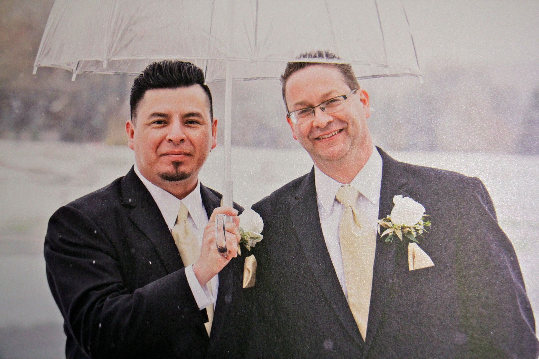 "Paul Frame (left) and Jose ""Ivan"" Nuñez Martinez are shown in a photo taken on their wedding day."