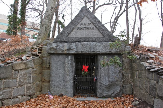 Walt Whitman's burial site in Harleigh Cemetery on the outskirts of Camden. (Emma Lee/WHYY)