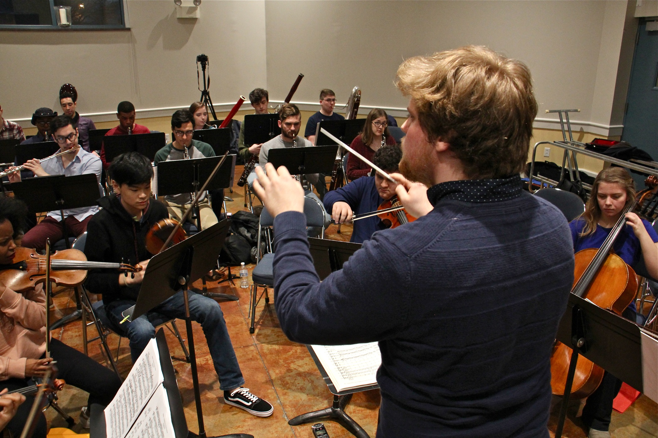 The 40-piece Center City Chamber Orchestra rehearses at Settlement Music School.