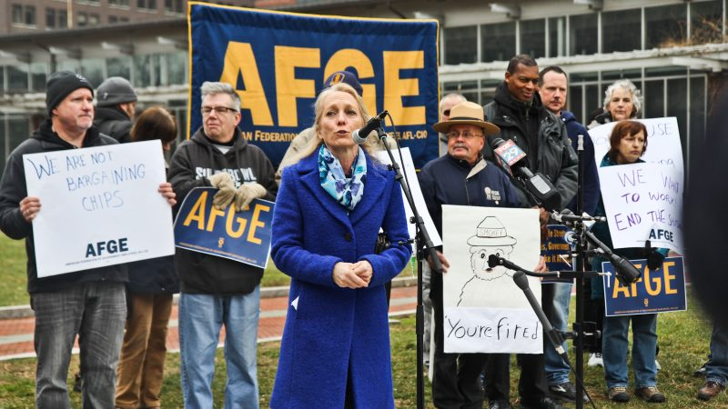 Congress member Mary Gay Scanlon calls for an end to the government shutdown at a rally on Independence Mall Tuesday. (Kimberly Paynter/WHYY)