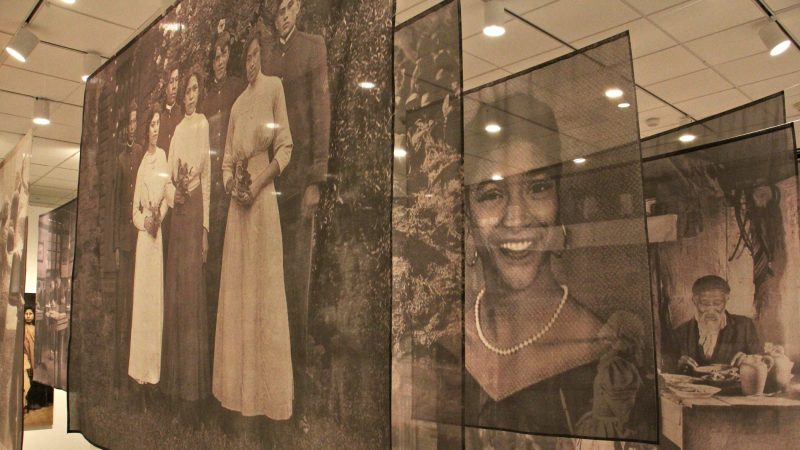 Photos printed on muslin create overlapping visual narratives in Carrie Mae Weems's work,
