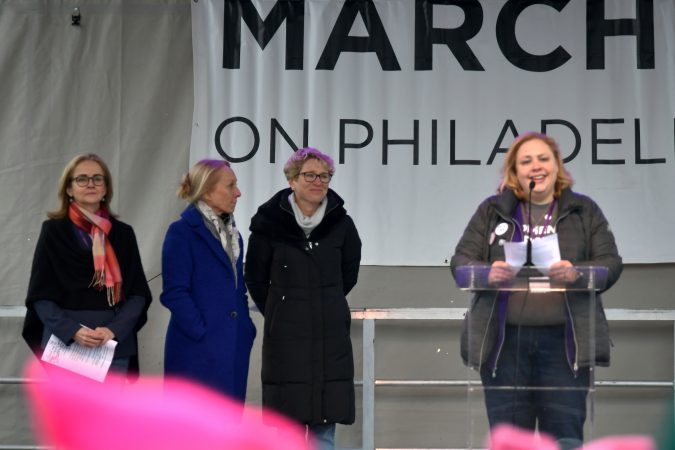 U.S. Rep. Madeleine Dean, Rep. Mary Gay Scallion and Rep. Chrissy Houlahan, three of the