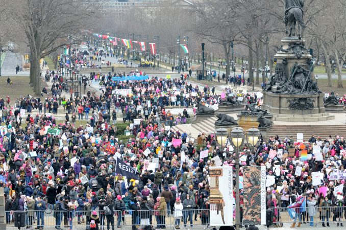 With a lower turnout than previous years, supporters participate in the 2019 Women's March on the Benjamin Franklin Parkway, in Philadelphia, Pa. (Bastiaan Slabbers for WHYY)