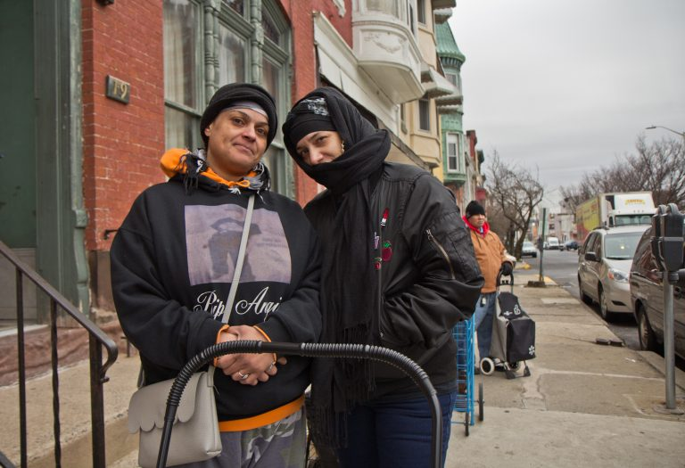 Andrea Martinez (left) and Janelle Rosado are food stamp recipients. They live in Reading, Pa., where 44 percent of households receive SNAP benefits.  (Kimberly Paynter/WHYY)