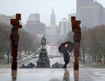 A visitor to the Philadelphia Museum of Art inspects the sculpture series,