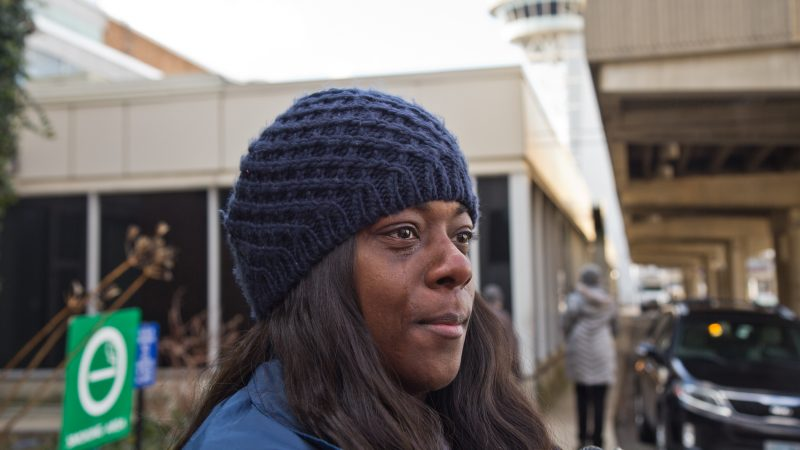 TSA officer Lashanda Palmer wonders how she's going to care for her five children without a paycheck. (Kimberly Paynter/WHYY)