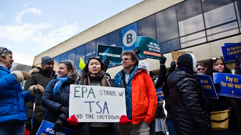 Unions and supporters join the AFGE TSA at Philadelphia International airport to call for an end to the government shutdown. (Kimberly Paynter/WHYY)