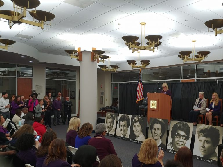 Six former Delaware female legislators were honored during an event supporting the passage of the Equal Rights Amendment. (Zoe Read/WHYY)