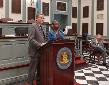 Delaware state Sen. Bryant Richardson and anti-abortion activists announce legislation to ban abortion after 20 weeks of pregnancy. (Zoe Read/WHYY)
