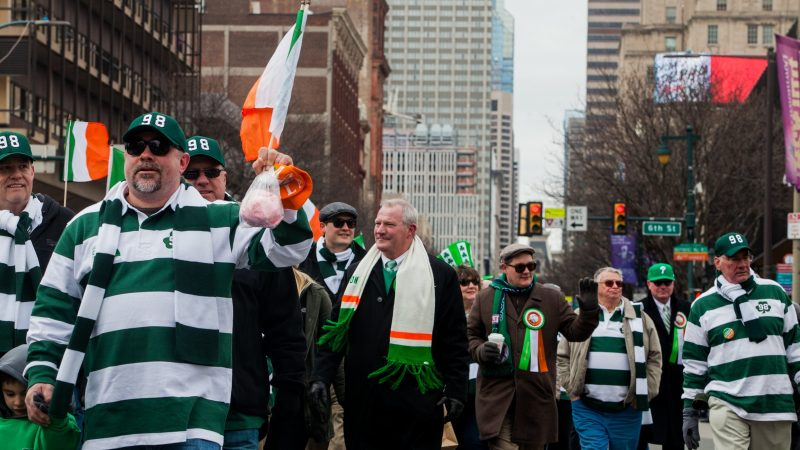 State Supreme Court Justice Kevin Dougherty, brother of indicted union boss John Dougherty, marches with Electricians Local Union 98 during the Saint Patrick's Day Parade Sunday, March 12, 2017. (Brad Larrison for NewsWorks)