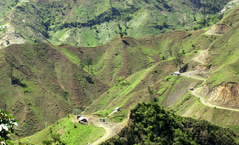 The denuded slopes of Massif de la Selle mountain range in Haiti above Jacmel, are seen Thursday June 5, 2003. Once covered with pine, cedar and juniper trees, the slopes are on their way to complete deforestation as farmers cut down trees and plant vegetables in the fragile topsoil. (Daniel Morel/AP Photo)