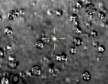 This composite image made available by NASA shows the Kuiper Belt object nicknamed Ultima Thule indicated by the crosshairs at center, with stars surrounding it on Aug. 16, 2018, made by the New Horizons spacecraft. The brightness of the stars was subtracted from the final image using a separate photo from September 2017, before the object itself could be detected. (NASA/Johns Hopkins University Applied Physics Laboratory/Southwest Research Institute via AP)