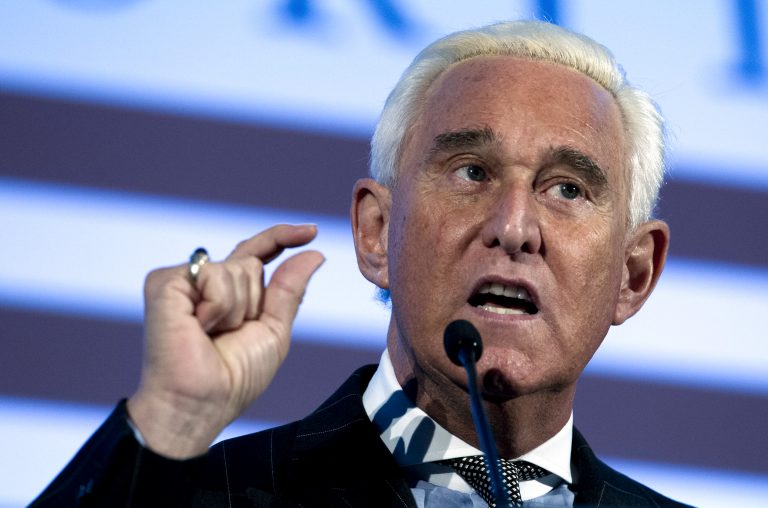FILE - In this Dec. 6, 2018, file photo, Roger Stone speaks at the American Priority Conference in Washington Thursday, Dec. 6, 2018.  (AP Photo/Jose Luis Magana, File)