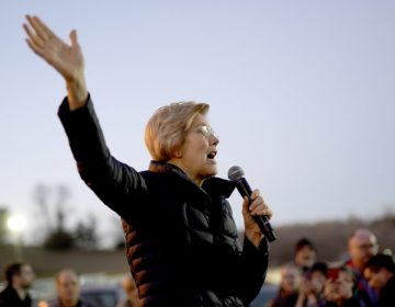 Sen. Elizabeth Warren, D-Mass, addresses an overflow crowd outside an organizing event at McCoy's Bar Patio and Grill in Council Bluffs, Iowa, Friday, Jan. 4, 2019. (Nati Harnik/AP Photo)