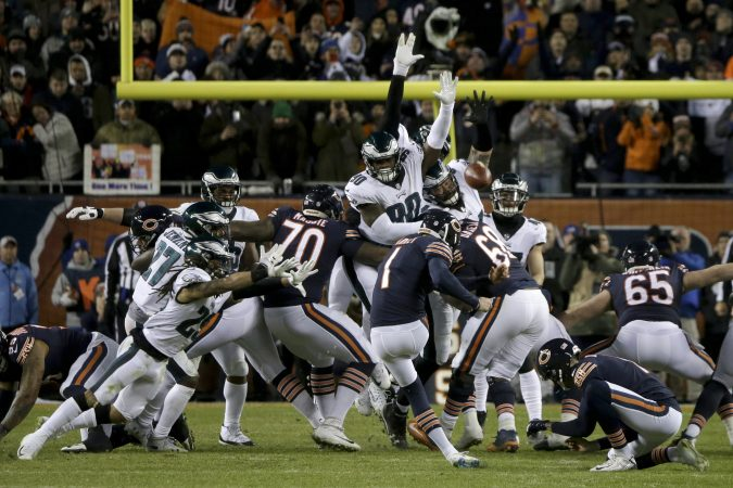 Chicago Bears kicker Cody Parkey (1) kicks and misses a field goal during the second half of an NFL wild-card playoff football game against the Philadelphia Eagles Sunday, Jan. 6, 2019, in Chicago. The Eagles won 16-15.