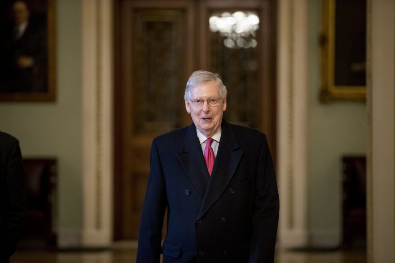 In this Jan. 3, 2019, photo, Senate Majority Leader Mitch McConnell of Ky. arrives on Capitol Hill in Washington, as the 116th Congress begins. Senate Republicans' first bill of the new Congress aims to insert the legislative branch into President Donald Trump's Middle East policy — but also tries to drive a wedge between centrist and liberal Democrats over attitudes toward Israel. (Andrew Harnik/AP Photo)